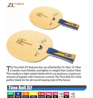Butterfly Timo Boll ZLF Table Tennis Blade Off GF