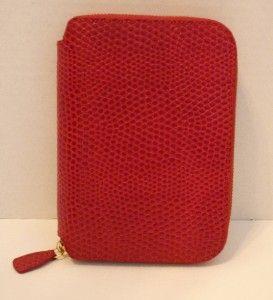 EUC SMYTHSON OF BOND STREET Red Textured Zip Around Leather Agenda w