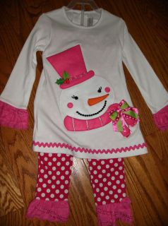 New Emily Rose Size 7 Snow Man Holiday Dress Pants Outfit