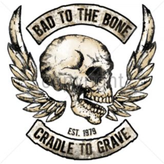 Bad to The Bone Cradle to Grave T Shirt Biker Angel Wings Skull