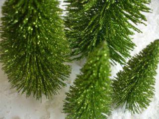 GREEN GLITTER BOTTLE BRUSH TREES Putz House Glitter Snow Village Vtg