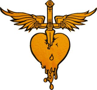 Jon Bon Jovi Logo Heart with Sword Wings Embroidered Big Patch 10