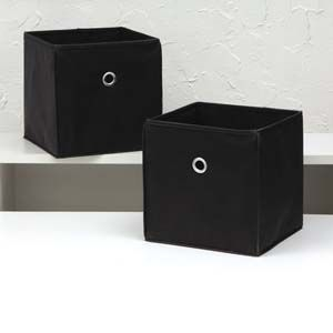 Set of 2 Black Cube Storage Bins Collapsible Boxes