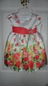 Bonnie Jean Baby Girls Shantung Floral Print Wedding Spring Dress 2T