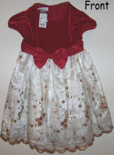 Bonnie Baby Red Floral Holiday Christmas Dress 2T