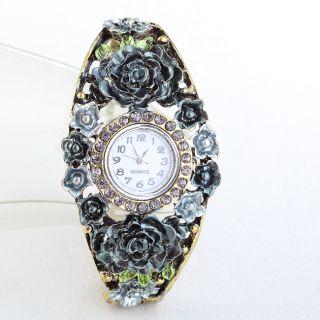 Band Grey Flower Rhinestone Vintage Bracelet Bangle Cuff Watch