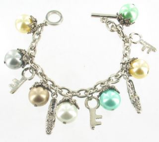 Key Big Drop Pearls Shoe Silver Tone Dangle Charm Bracelet