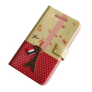 New 3D Eiffel Tower Leather Wallet Book Flip Skin Case for iPhone 4G