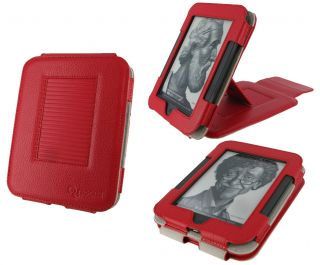 rooCASE Red Multi View Leather Case Cover for Nook Simple Touch