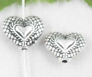 15pcs Tibetan Silver Heart Shaped Spacer Beads 12x10mm