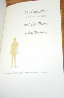 Bradbury SIGNED Ltd   The Love Affair, a Short Story, and Two Poems