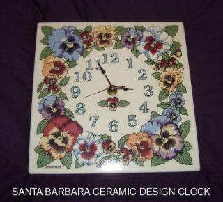 Almost Vintage Santa Barbara Ceramic Design Pansies Wall Clock Takane