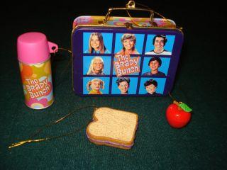 Brady Bunch Lunchbox Ornament Set Thermos Apple Carlton Cards