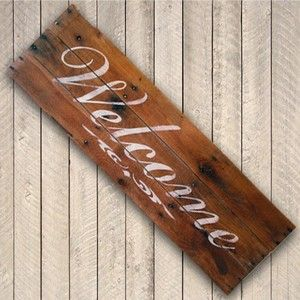 Recycled pallet wood Welcome Sign. Handpainted.Rustic,Shabby chic