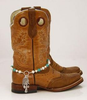JEWELRY BOOT CHARM ANKLET BEADED Cross Turquoise Pearls BLING