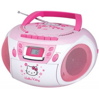Brand New Hello Kitty Stereo CD Boombox with Cassette Player Am FM