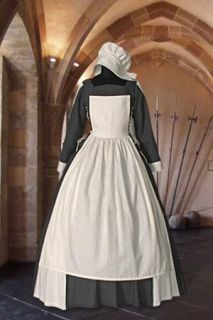 Peasant Maiden Servant Dress Outfit Handmade from Natural Cotton