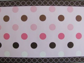 Avalon Pink and Brown Circles Polka Dots Baby Nursery Wallpaper Wall