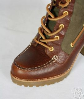 Sperry Top Sider Trinity Tan Olive Lug Sole Womens Boots New 9236100