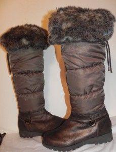 New Michael Kors Brandy Bronze Snow Faux Fur Leather Nylon Boots Size