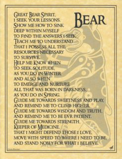 Bear Totem Prayer BOS Book of Shadows Page Wiccan Witchcraft Magick