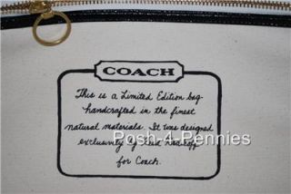 Coach Limited Edition Canvas Hand Painted Stripe Large Beach Tote Bag