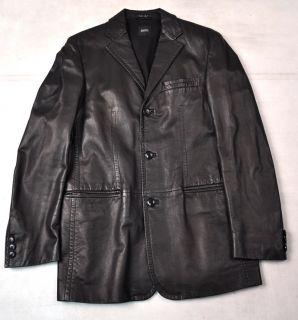 Boss Hugo Boss Black Italian Lamb Nappa Leather 3 Button Jacket 48