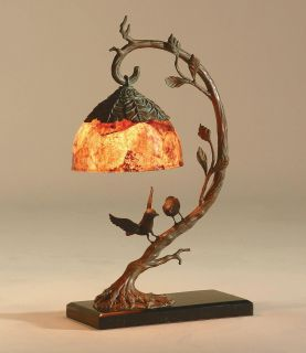 Maitland Smith Brass Birds on Limb Lamp Penshell Shade
