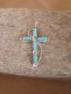Zuni Indian Sterling Silver Turquoise Cross Pendant Native American