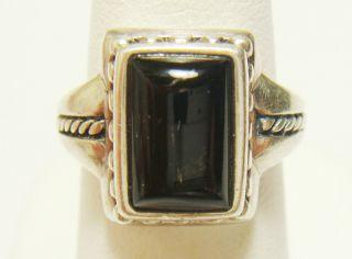 Vintage 925 Sterling Silver Black Onyx Braided Design Ring SZ 6 75 7g