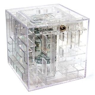 New Clear Money Gift Maze Cash Puzzle Brain Teaser Box