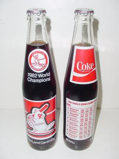 CARDINALS World Series Champions Coca Cola COKE bottles error & right