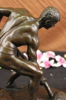 Signed Boucher Field Worker Bronze Sculpture Statue Figure Figurine