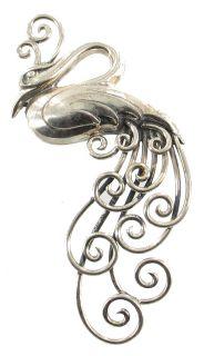 RARE 1940s Boucher Parisina Taxco Mexico Sterling Bird Peacock Pin