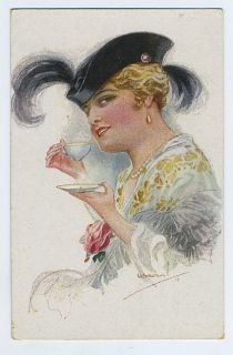 Art Usabal Tea Coffee Time Feathers Lady 1910s Postcard