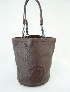 BOTTEGA VENETA BROWN LEATHER WOVEN DESIGN BUCKET BAG HANDBAG