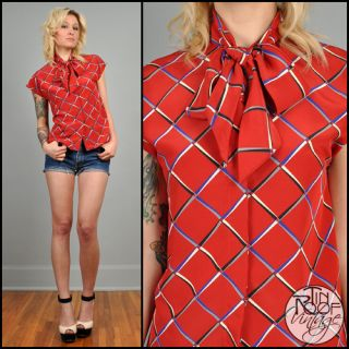 80s red plaid ASCOT bow tie top S cap sleeve indie bouse shirt graphic