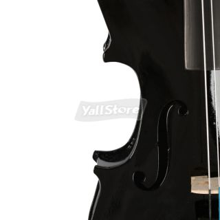 full size black acoustic violin with case bow rosin