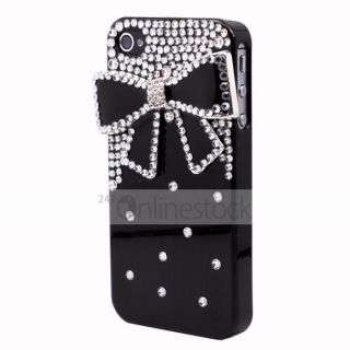 Luxury Black 3D Bling Bow Tie Crystal Hard Rigid Cover Case for iPhone