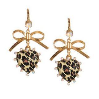 Nwt Betsey Johnson Leopard Heart Gold Bow Drop Earrings