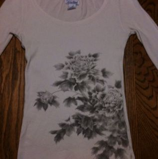 Lucky Brand Womens Off White Long Sleeve Thermal Shirt Size Medium