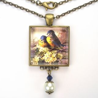 Art Glass Pearl Pendant Brass Necklace Vintage Charm Jewelry