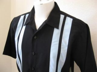 Rockabilly 2XL Black Blue Panels Bowling Shirt 2Tone Rock Roll