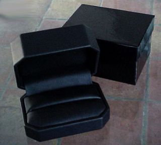 Deluxe Octagonal Black Leatherette Double Ring Gift Box