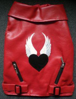 Red Lady Biker Leather Winged Heart Vest SM Med Breed