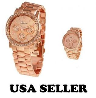 Crawford Boyfriend Watch Crystals Designer Bling Rose Gold