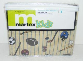 New Martex Kids Sports Twin Sheet Set Boys Tan w Blue Stripe Football