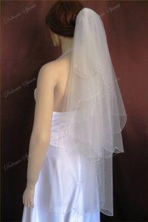 Wedding Veil Bridal Bride 2T Ivory Scalloped Fingertip 26x38