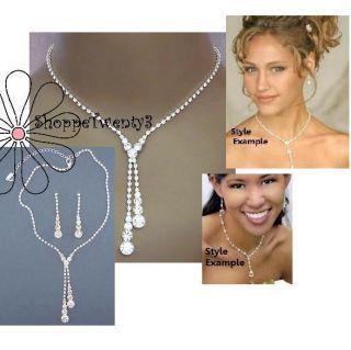 Drop Necklace Set 14 17 Silver Bridal Bridesmaid Jewelry Boxed