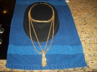 SHERMAN GOLD TONE MULTI CHAIN TASSEL NECKLACE PALM BEACH ESTATE PIECE